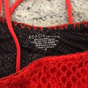 acacia swimwear Swim - Acacia Neon Lava Florence Crochet One-Piece M